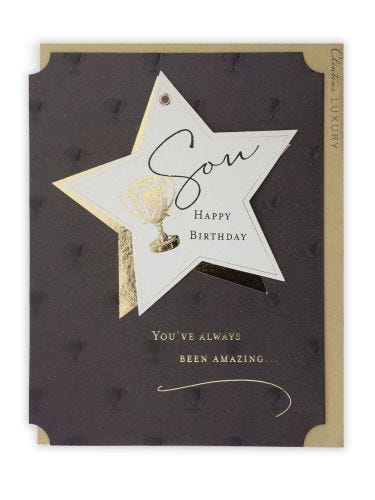 Son Star Tag With Gold Trophy Birthday Card