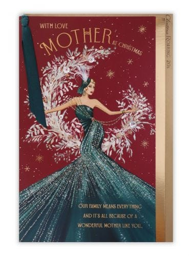 Lady In Teal Dress Mother Christmas Card