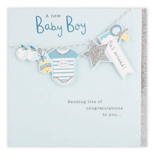 Hanging Icons Baby Boy Card