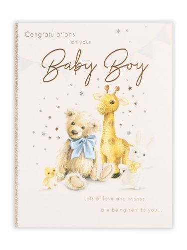 Knitted Sketchy Animals Baby Boy Card