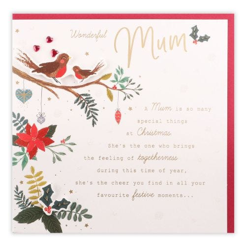 Two Birds On Branch With Baubles Mum Christmas Card