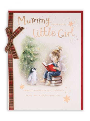 Girl Sitting On Books Mummy From Daughter Christmas Card