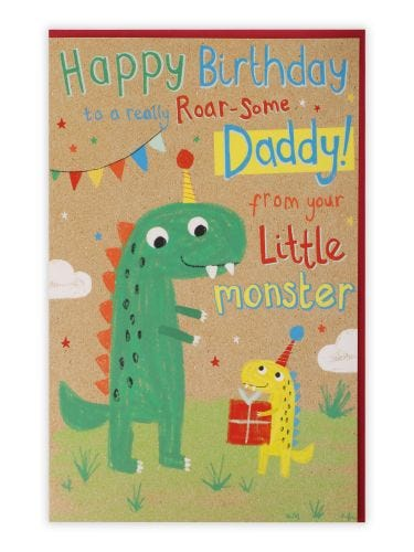 Dinosaurs Daddy From Your Little Monster Birthday Card
