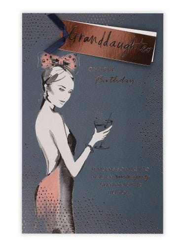 Figurative Lady With Bow and Cocktail Granddaughter Birthday Card