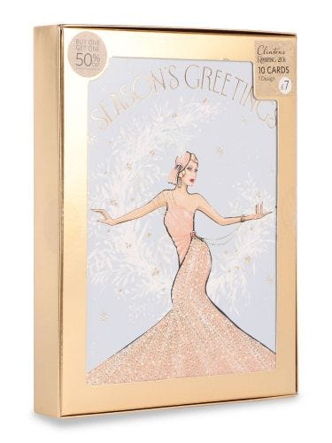 Christmas Roaring 20's Lady on Moon , Pack of 10, 1 Design