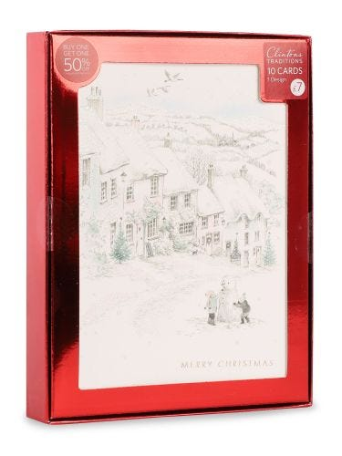 Christmas Pencil Scene With Snowman, Pack of 10, 1 Design