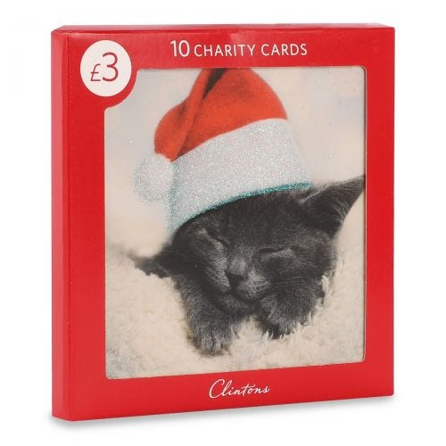 Christmas Charity Sleepy Cat In Hat , Pack of 10, 1 Design