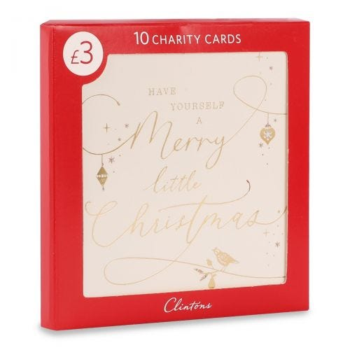 Christmas Charity Gold Lettering on white , Pack of 10, 1 Design