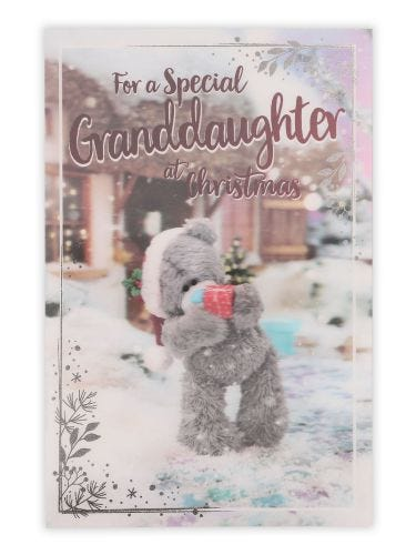 Me To You Granddaughter Christmas Bear Holding A Gift Card