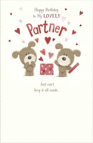 Partner Birthday Woof Dog With Box Of Hearts Card