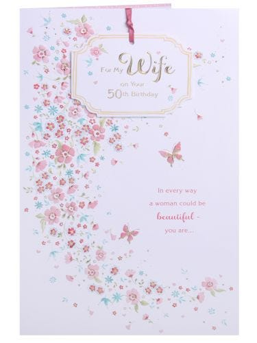 Wife 50th Birthday Card - Pink Butterflies & Floral