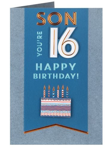 You're 16 Son Birthday Card
