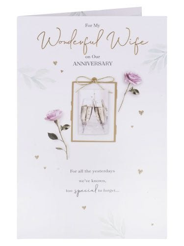 Champagne & Roses Wife Anniversary Card