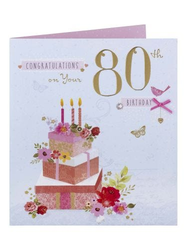 Candles & Flowers 80th Birthday Card