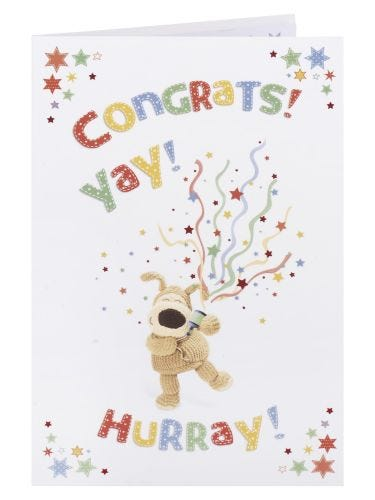 Boofle with Party Popper Congratulations Card