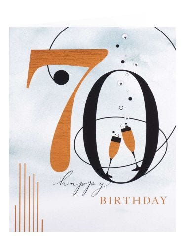 Champagne & Bubbles 70th Birthday Card