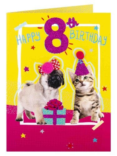 Party Pets 8th Birthday Card