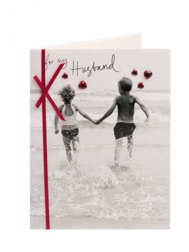Monochrome Children At The Seaside Anniversary Card - For Husband