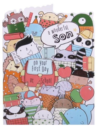 Son First Day Of School Animals Card