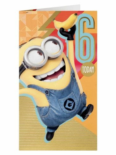 Despicable Me Minions 6th Birthday Card