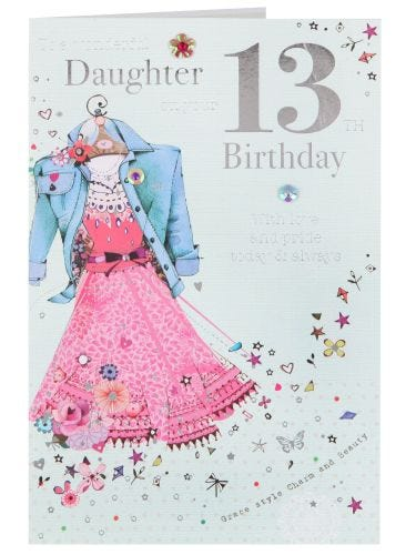 Daughter Sparkly Dress 13th Birthday Card