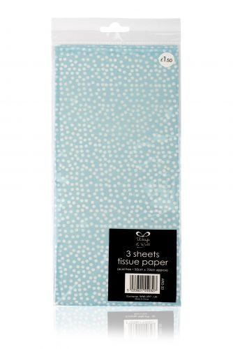 3 Sheets of Blue With White Dots Tissue Paper
