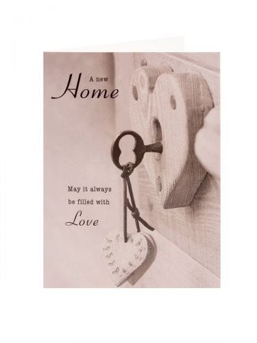 Wooden Heart New Home Card