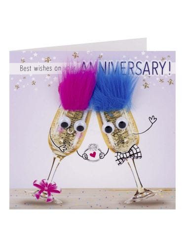 Googley Eyed Fluffy Champagne Glasses Anniversary Card