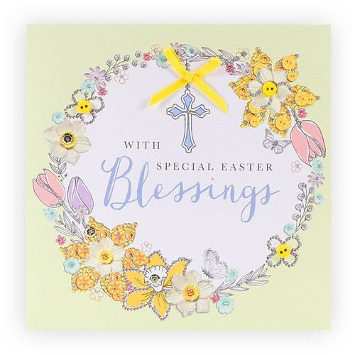 Flowers and Cross Easter Card