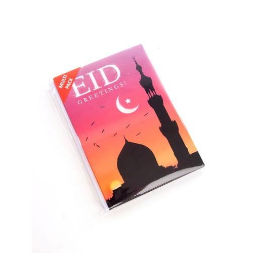 Mosque Outline Eid Greetings Card- 6 Pack