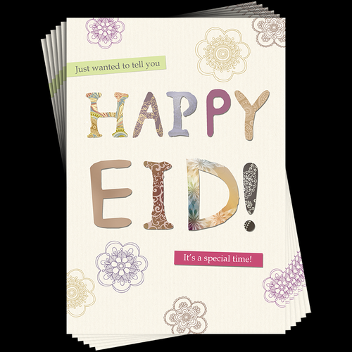 6 Pack Patterned Letters Eid Cards