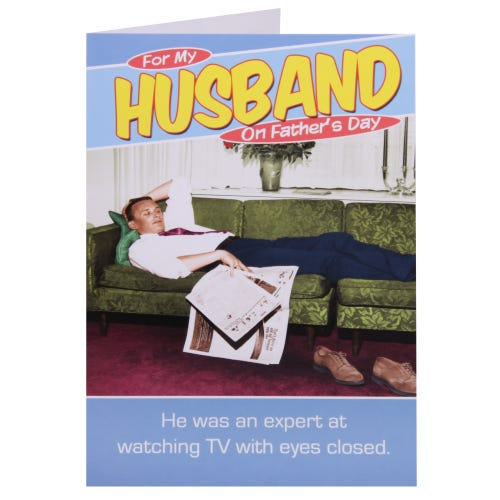 Husband Watching TV Father's Day Card