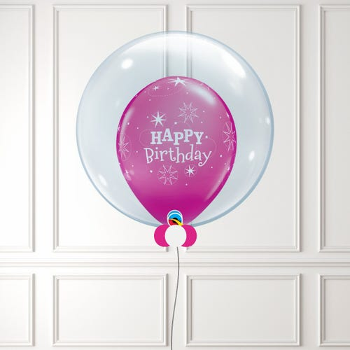 Pink Happy Birthday Balloon in a Bubble