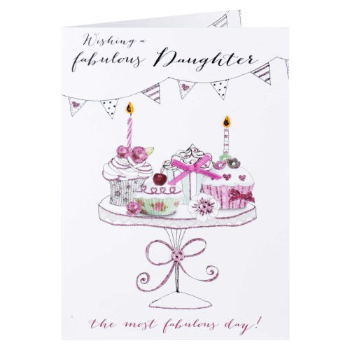 Cupcakes On Stand Daughter Birthday Card
