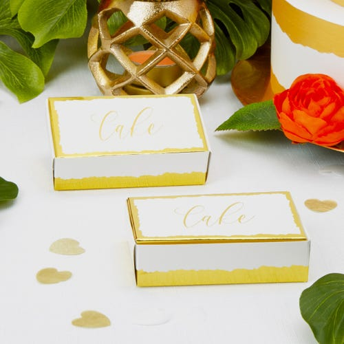 Dipped in Gold Cake Boxes - 10 Pack