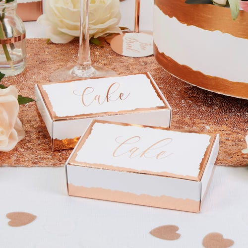 Dipped in Rose Gold Cake Boxes - 10 Pack