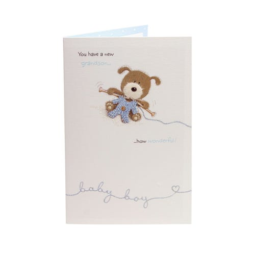 Woof The Dog New Grandson Congratulations Card