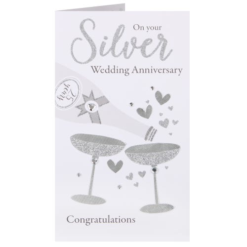 Pouring Champagne Silver Anniversary Card
