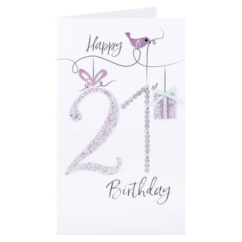 Glitter & Present 21st Birthday Card