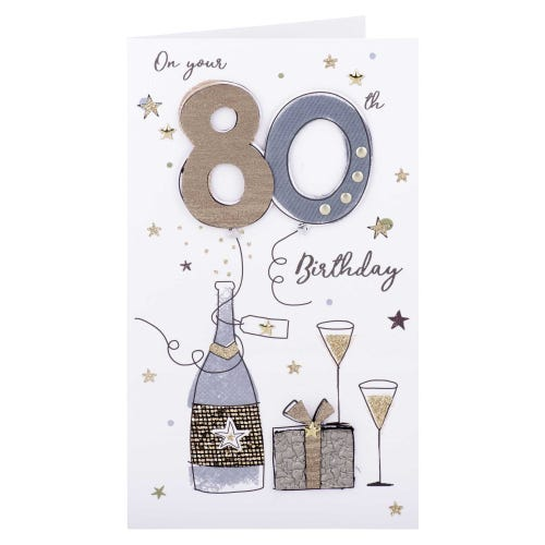 Bubbly & Present 80th Birthday Card