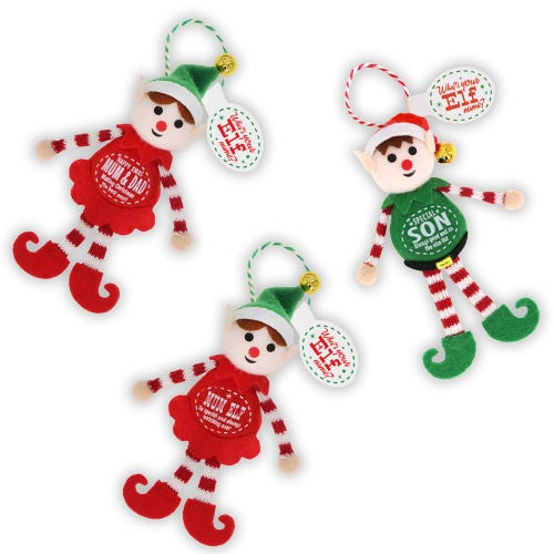 Personalised Named Christmas Elf Decoration For Relatives