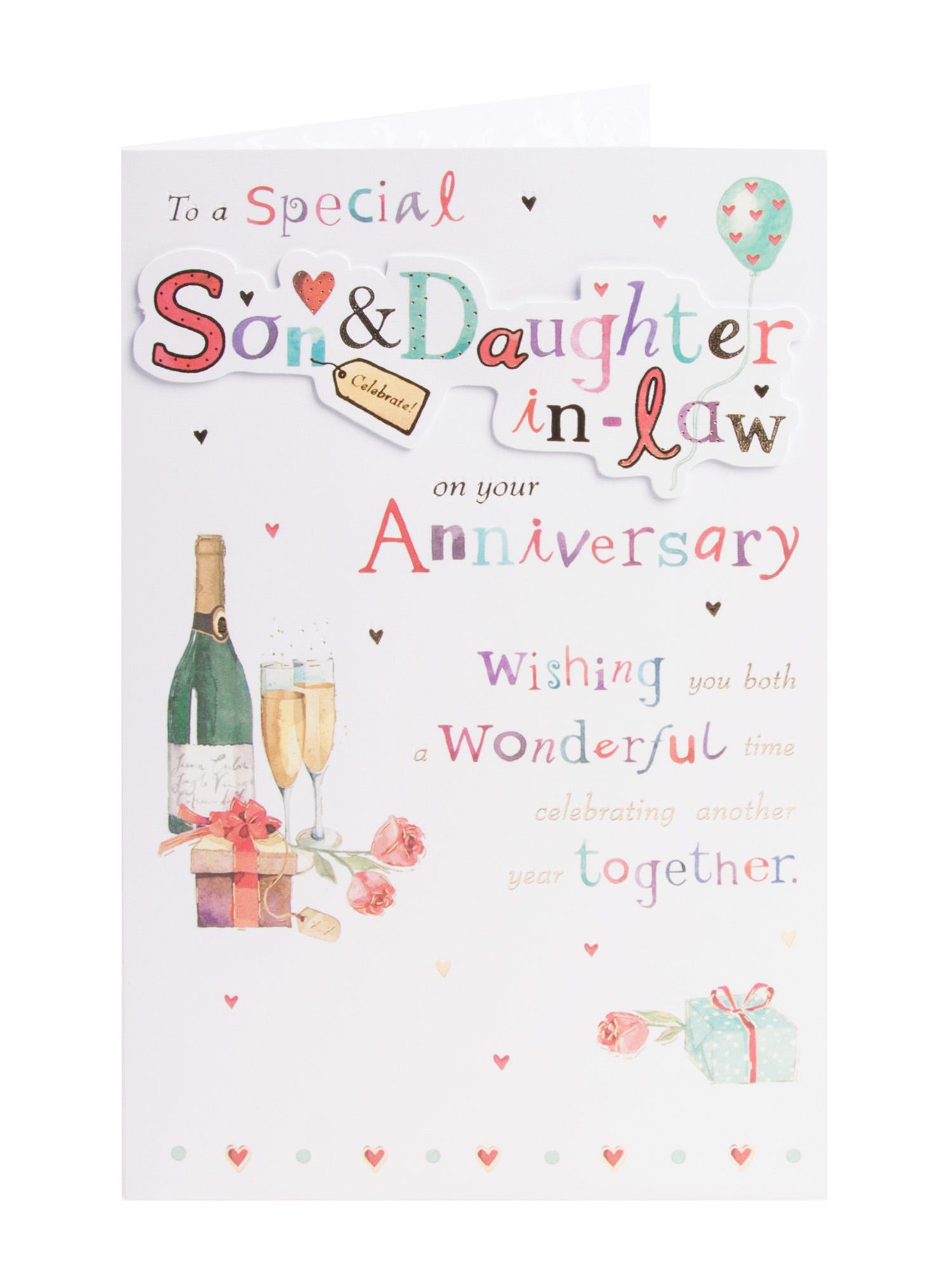 Son daughter in law anniversary card large heart clintons colourful letters wedding anniversary card for son daughter in law m4hsunfo