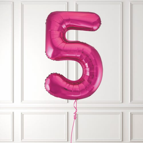 Pink Number 5 Foil Balloon