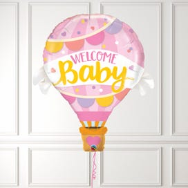 Welcome Baby Girl Hot Air Balloon