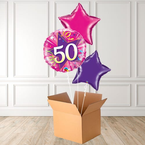Pink Age 50 Shining Star Foil Bouquet