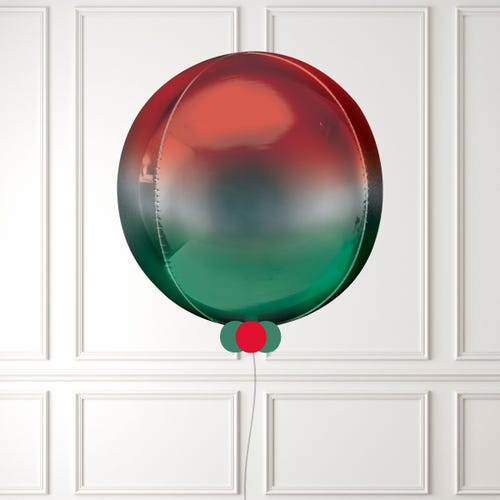 Red & Green Ombre Orbz Balloon