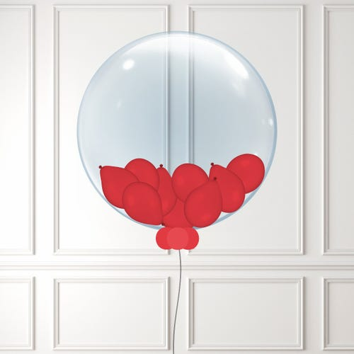 Red Mini Balloon Filled Bubble