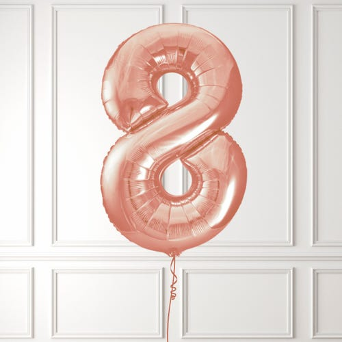 Rose Gold Number 8 Foil Balloon