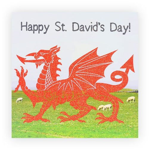 Red Glitter Dragon St. David's Day Card