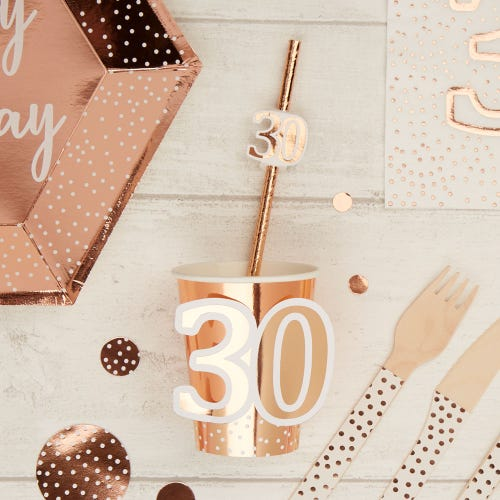 Happy Birthday Age 30 - Cup - Rose Gold - 8 Pack